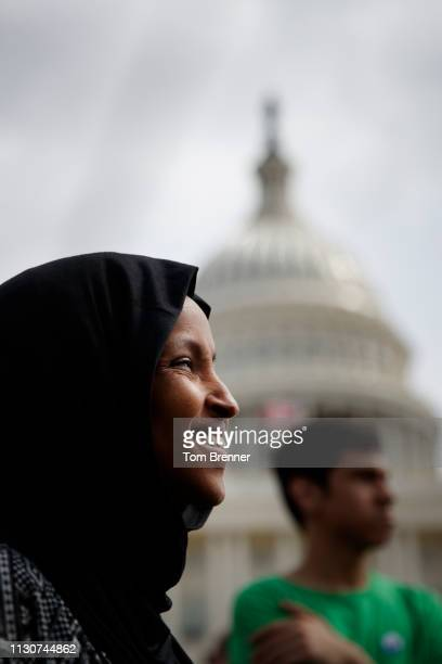 Rep Ilhan Omar DMinn attends a Youth Climate Strike on March 15 2019 on the West Front of the US Capitol in Washington DC Students around the world...
