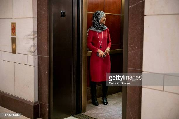 S Rep Ilhan Omar leaves the Sensitive Compartmented Information Facility during the continued House impeachment inquiry of President Donald Trump at...