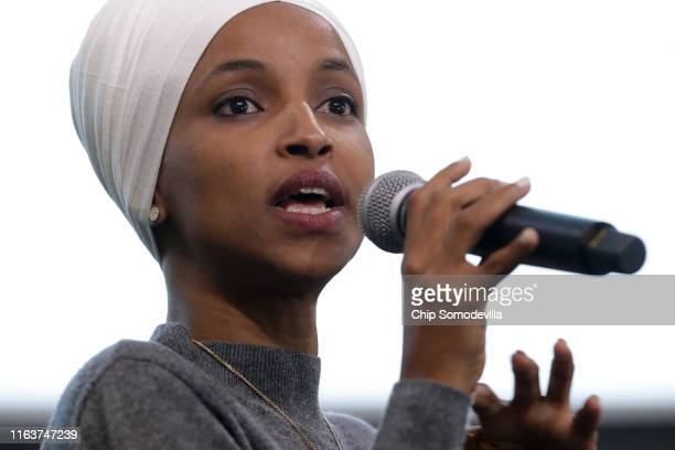 Rep Ilhan Omar participates in a panel discussion during the Muslim Collective For Equitable Democracy Conference and Presidential Forum at the The...