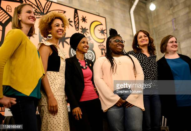 Rep. Ilhan Omar poses for a photo with fellow panelists at a town hall meeting on gender pay gap and equity at La Doña Cerveceria on April 24, 2019...