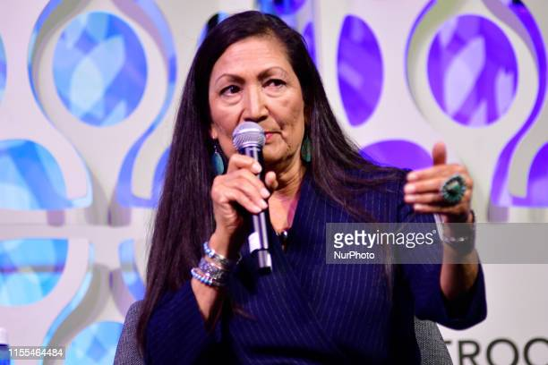 Rep Ilhan Omar Rep Ayanna Pressley Rep Rashida Tlaib and Rep Deb Haaland take part in a panel discussion led by Aimee Allison touching the changes of...
