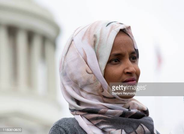 S Rep Ilhan Omar speaks at a press conference on the No Shame at School Act on June 19 2019 in Washington DC The bill which is sponsored by Omar will...