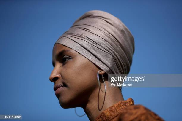 Rep Ilhan Omar speaks at a press conference outside the US Capitol July 25 2019 in Washington DC Omar introduced the ZERO WASTE Act which would...