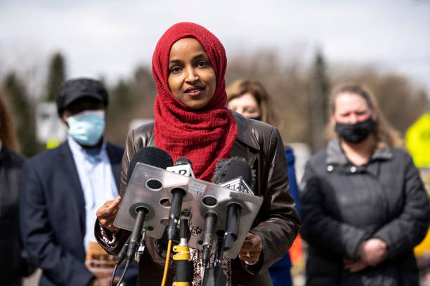 MN: Rep. Ilhan Omar Holds Press Conference And Rally At Site Of Daunte Wright Shooting