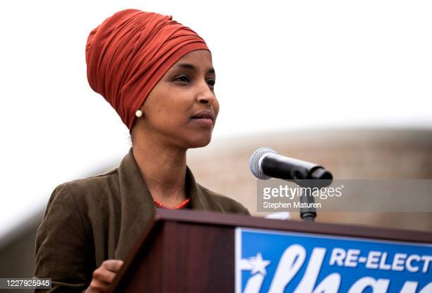Rep Ilhan Omar speaks during a press conference outside the DFL Headquarters on August 5 2020 in St Paul Minnesota Omar is hoping to retain her seat...
