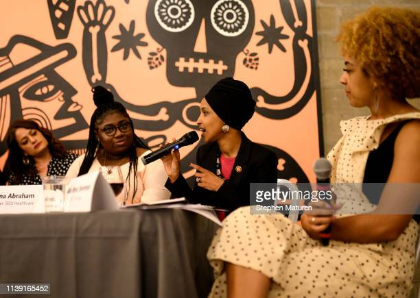 Rep. Ilhan Omar speaks during a town hall meeting on gender pay gap and equity at La Doña Cerveceria on April 24, 2019 in Minneapolis, Minnesota....
