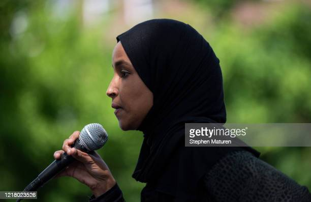 Rep Ilhan Omar speaks to a crowd gathered for a march to defund the Minneapolis Police Department on June 6 2020 in Minneapolis Minnesota The march...