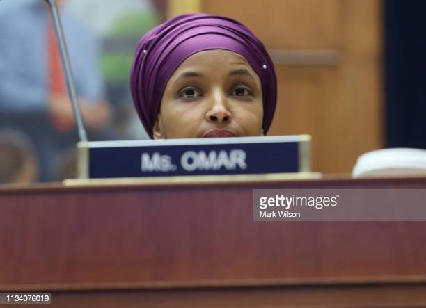 Rep Ilhan Omar  participates in a House Education and Labor Committee Markup on the HR 582 Raise The Wage Act in the Rayburn House Office Building on...