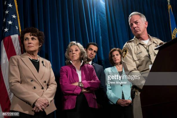 Rep Jackie Rosen Rep Dina Titus Rep Ruben Kihuen and Clark County Sheriff Joe Lombardo brief reporters on the ongoing investigation into Sunday...