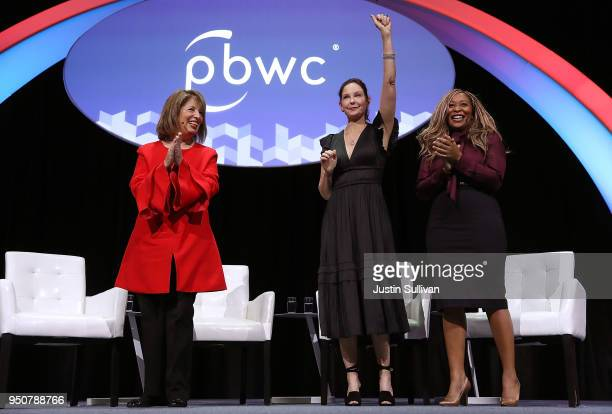 US Rep Jackie Speier Actress and activist Ashley Judd and CoFounder of We Said Enough Adama Iwu greet the crowd during the 29th annual Conference of...