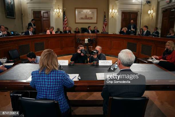 Rep Jackie Speier and Rep Bradley Byrne prepare to testify before the House Administration Committee in the Longworth House Office Building on...