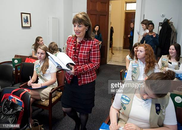 Rep Jackie Speier DCalif arrives to speak to a group of girls from the Girl Scouts and Girls Inc who will be shadowing Congresswomen as part of Take...