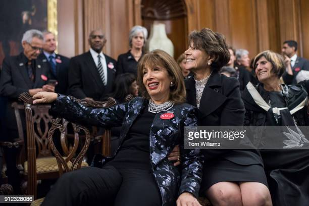 Rep Jackie Speier DCalif left is positioned for a picture by Rep Anna Eshoo DCalif during a photo op in the Capitol's Rayburn Room to show solidarity...