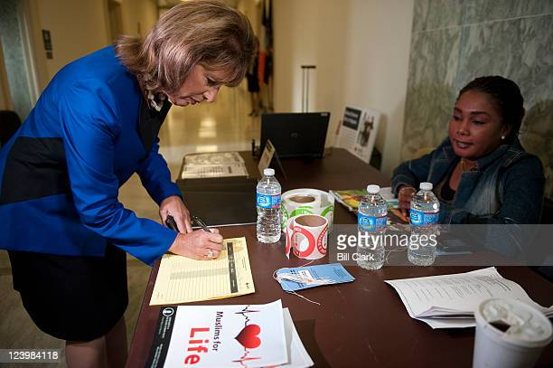 Rep Jackie Speier DCalif registers before attempting to donate blood on Wednesday Sept 7 at the Muslims for Life blood drive campaign in advance of...