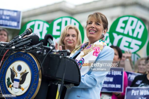 Rep Jackie Speier DCalif right and Carolyn Maloney DNY attend a news conference at the House Triangle on the need to ratify the Equal Rights...