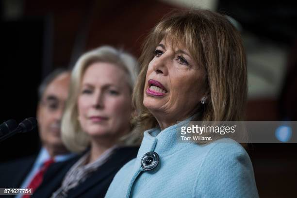 Rep Jackie Speier DCalif right Sen Kirsten Gillibrand DNY and Bruce Poliquin RMaine hold a news conference in the Capitol Visitor Center to introduce...