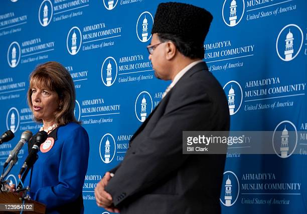 Rep Jackie Speier DCalif speaks during a brief press conference before attempting to donate blood on Wednesday Sept 7 at the Muslims for Life blood...