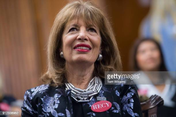 Rep Jackie Speier DCalif wears a pin featuring the name of sexual assault survivor Recy Taylor during a photo op in the Capitol's Rayburn Room to...