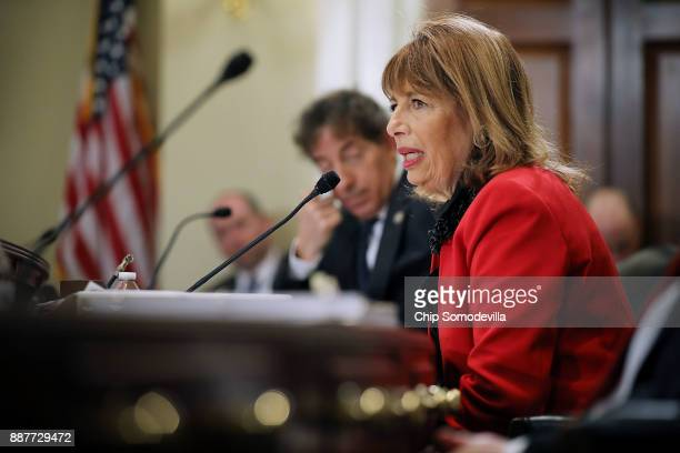 Rep Jackie Speier delivers opening remarks during a hearing of the House Administration Committee about preventing sexual harassment in Congress in...
