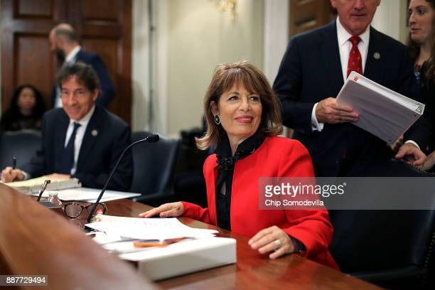Rep Jackie Speier joins members of the House Administration Committee during a hearing on preventing sexual harassment in Congress in the Longworth...