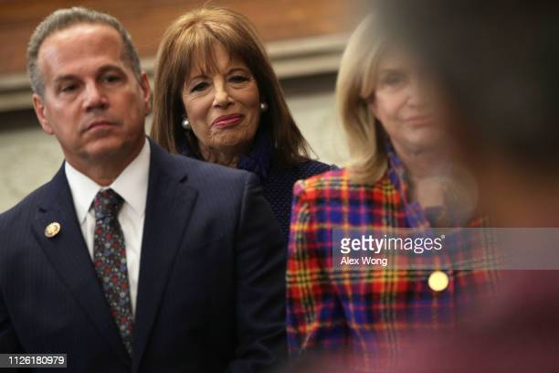S Rep Jackie Speier listens during a news conference at the US Capitol January 30 2019 in Washington DC House Democrats held a news conference to...