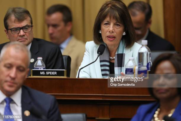 Rep Jackie Speier questions former Special Counsel Robert Mueller as he testifies before the House Intelligence Committee about his report on Russian...
