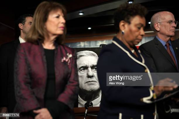 US Rep Jackie Speier Rep Barbara Lee and Rep Peter Welch listen during a news conference to show support of Special Counsel Robert Mueller December...