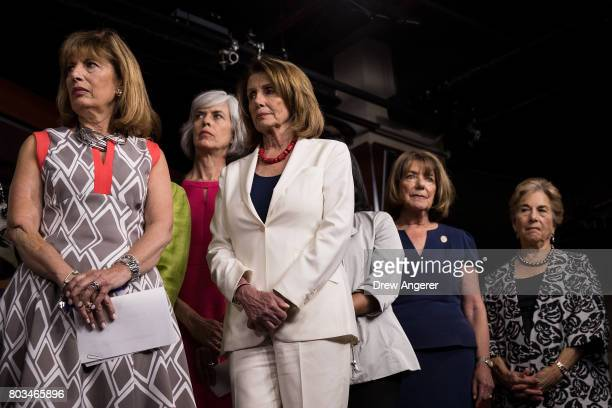 Rep Jackie Speier Rep Katherine Clark Minority Leader Nancy Pelosi Rep Susan Davis and Rep Jan Schakowsky look on during a press conference...