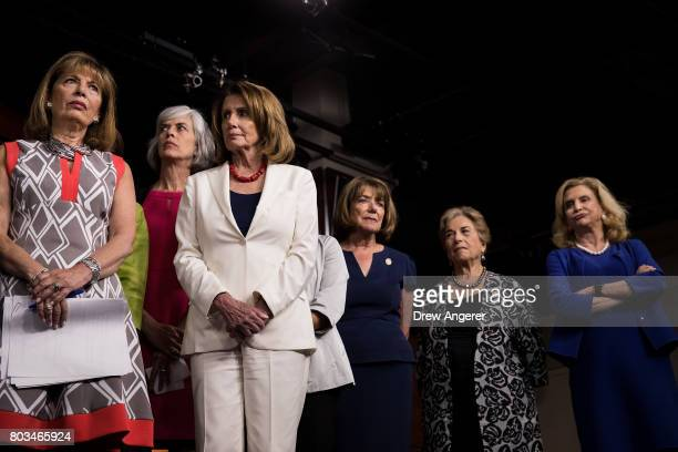 Rep Jackie Speier Rep Katherine Clark Minority Leader Nancy Pelosi Rep Susan Davis Rep Jan Schakowsky and Rep Carolyn Maloney look on during a press...