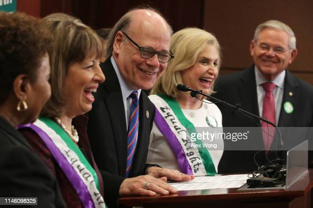 US Rep Jackie Speier Rep Steve Cohen Rep Carolyn Maloney and Sen Robert Menendez a news conference on women's rights April 30 2019 on Capitol Hill in...