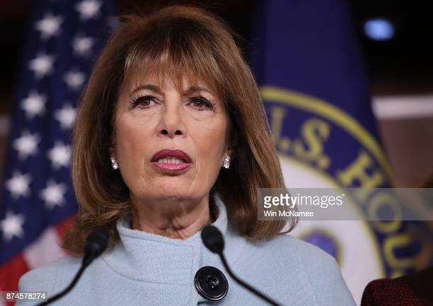 Rep Jackie Speier speaks at a press conference on sexual harassment in Congress on November 15 2017 in Washington DC Sen Kirsten Gillibrand and...