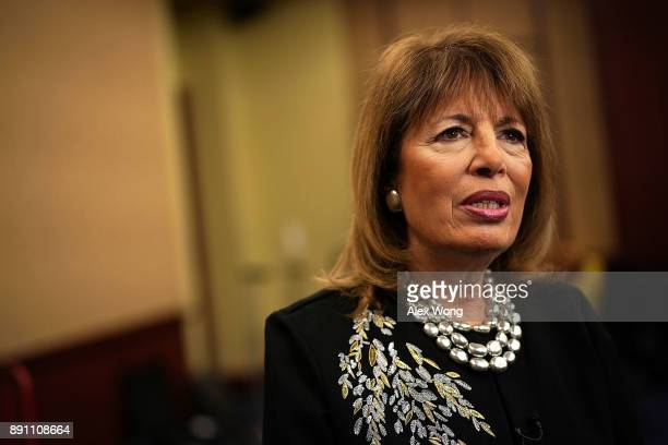 S Rep Jackie Speier speaks to a member of the media after a news conference December 12 2017 on Capitol Hill in Washington DC House Democrats call on...