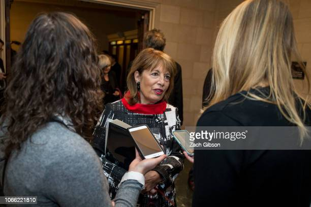 Rep Jackie Speier speaks to members of the press during a Democratic Caucus meeting to elect new leadership on Capitol Hill on November 28 2018 in...