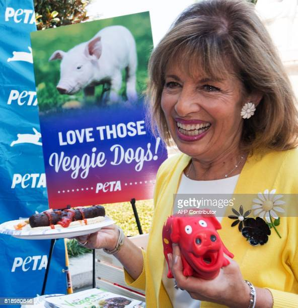US Rep Jackie Speier visits the People for the Ethical Treatment of Animals veggie dog giveaway on Capitol Hill July 19 countering a National Hot Dog...