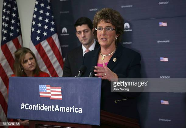 S Rep Jackie Walorski speaks as Speaker of the House Rep Paul Ryan and House Republican Conference Vice Chair Rep Lynn Jenkins look on during a news...