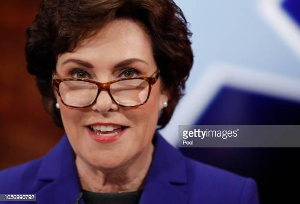 S Rep Jacky Rosen prepares for her debate with US Sen Dean Heller at KLAS Channel 8 Studios on October 19 2018 in Las Vegas Nevada Rosen is looking...