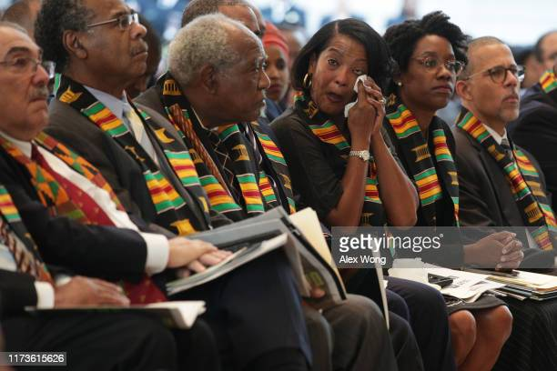 S Rep Jahana Hayes wipes tear during an event at the Emancipation Hall of the US Capitol September 10 2019 in Washington DC The Congressional Black...