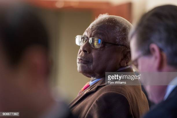 Rep James Clyburn DSC prepares for a news conference in the Capitol Visitor Center to discuss a resolution to censure President Trump for derogatory...