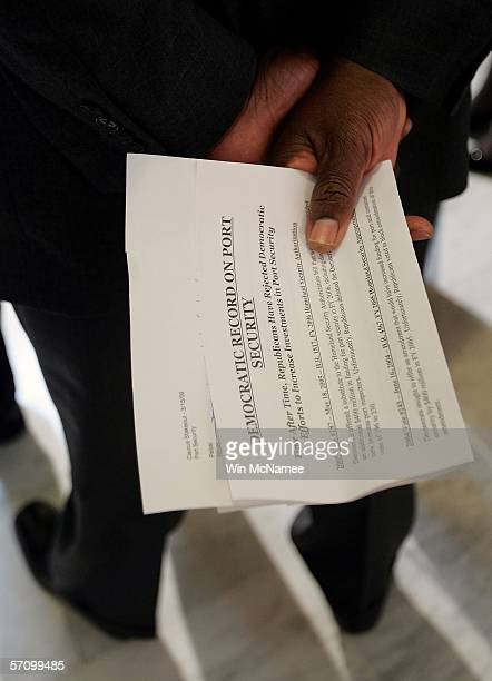 S Rep James Clyburn holds his speaking notes behind his back as he takes part in a news conference with fellow House Democrats highlighting port...