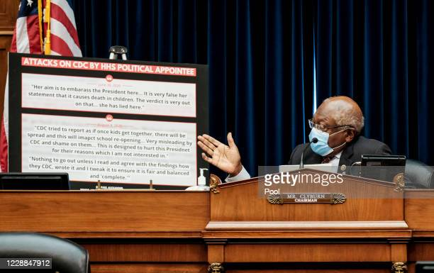 Rep. James Clyburn listens to Health and Human Services Secretary Alex M. Azar at a hearing before the House Select Subcommittee on the Coronavirus...