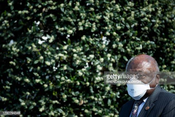 Rep. James Clyburn speaks to the press outside the White House after a meeting between members of the Congressional Black Caucus and US President Joe...