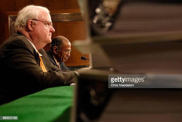 Rep James Sensenbrenner Jr RWi and Rep John Conyers Jr DMi testify at a Senate Judiciary Committee committee hearing on Renewing the Temporary...