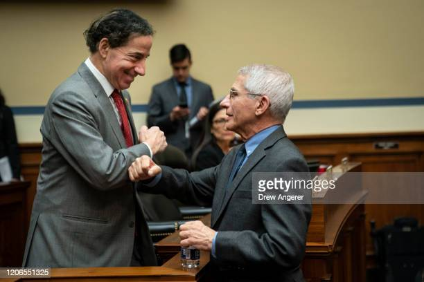 Rep Jamie Raskin and Dr Anthony Fauci Director National Institute of Allergy and Infectious Diseases at National Institutes of Health greet each...