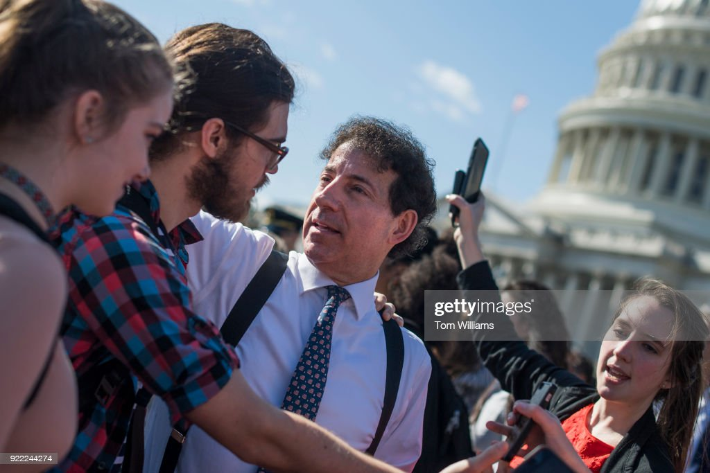 Rep. Jamie Raskin, D-Md., talks with students who were gathered on the east lawn of the Capitol to call for Congress to act on gun control on February 21, 2018.