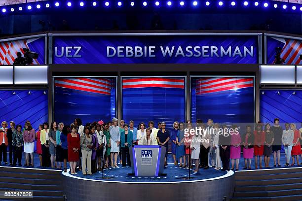 Rep Jan Schakowsky delivers remarks along with the Democratic women members of the House of Representatives on the second day of the Democratic...