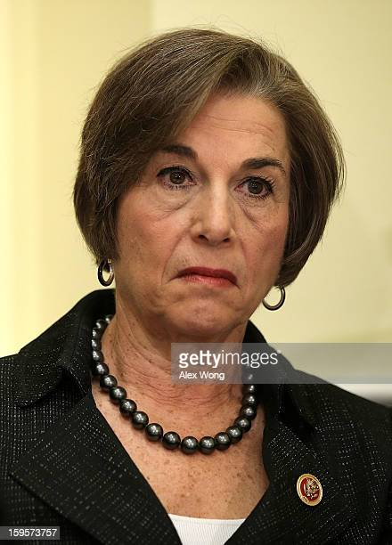 S Rep Jan Schakowsky listens during a news conference January 16 2013 on Capitol Hill in Washington DC House Democrats held a news conference to...