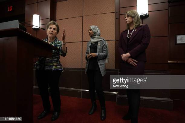 US Rep Jan Schakowsky speaks as Rep Ilhan Omar and Rep Katie Hill listen during a news conference January 24 2019 on Capitol Hill in Washington DC...