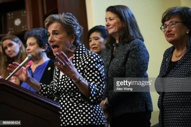 S Rep Jan Schakowsky speaks as Rep Lois Frankel Rep Judy Chu Rep Diana DeGette and Rep Nita Lowey listen during a news conference October 26 2017 on...