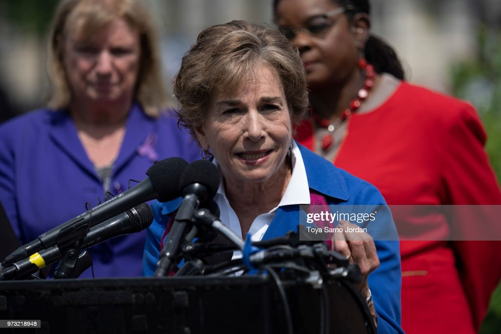 Rep. Jan Schakowsky (D-IL) speaks during a news conference on immigration to condemn the Trump Administration's 'zero tolerance' immigration policy, outside the US Capitol on June 13, 2018 in Washington, DC.