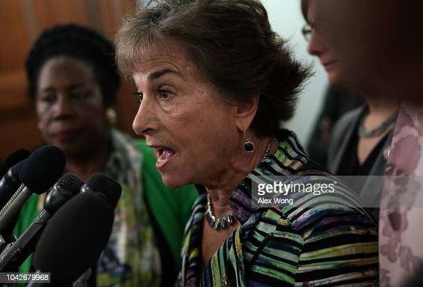 S Rep Jan Schakowsky speaks to members of the media as other female Democratic House members look on outside a Senate Judiciary Committee meeting...